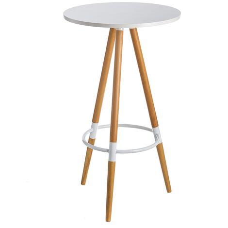 Mesa auxiliar de madera nórdica blanca de 60x105 cm