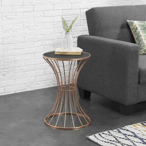 Mesa auxiliar de metal - 55,5 cm x 37,5 cm - en forma Reloj de arena - Mesa de centro - Mesa de té - Mesa de café de salón - Cobre