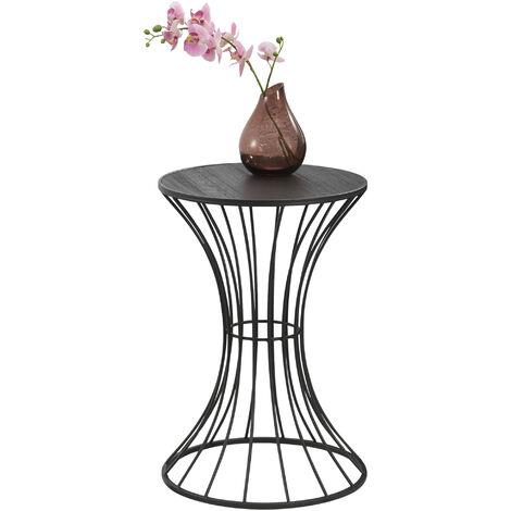 Mesa auxiliar de metal - 55,5 cm x 37,5 cm - en forma Reloj de arena - Mesa de centro - Mesa de té - Mesa de café de salón - Color negro