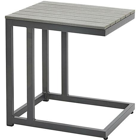 Mesa Auxiliar Gris para exterior Estructura de metal Polywood Muebles de Jardín
