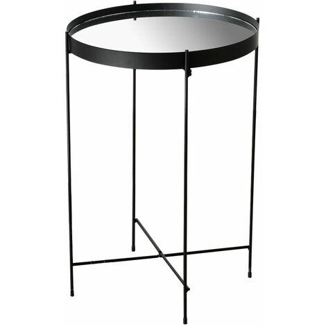 Mesa auxiliar living comedor dormitorio decoración estante planta soporte hierro negro altura 60cm MALCOLM