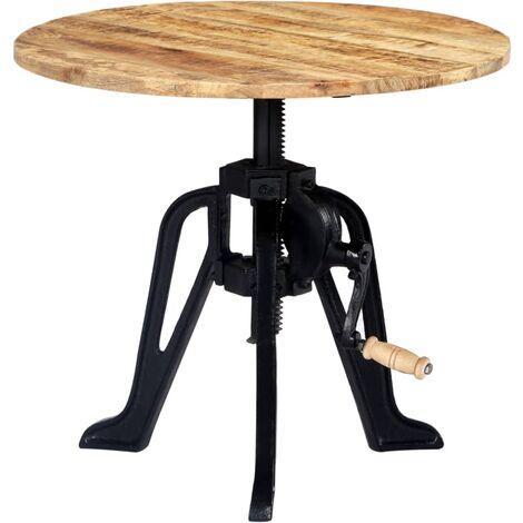 Mesa auxiliar madera de mango y hierro fundido 60x(46-63) cm