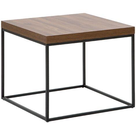 Mesa auxiliar madera oscura con patas negras DORRIS