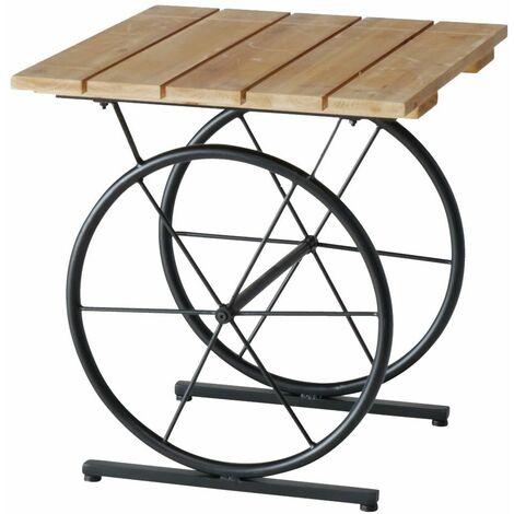 Mesa auxiliar mesa de salón vintage, pequeña mesa de centro de madera, diseño de rueda de husillo, hierro negro, H 51 cm, salón
