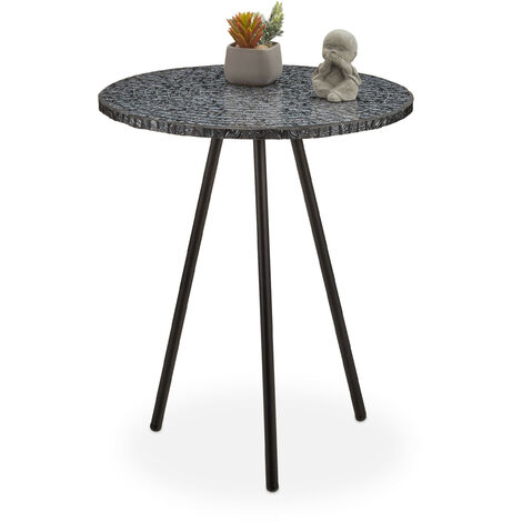 Mesa Auxiliar Mosaico, Hecha a Mano, Hierro-DM-Cristal, Negro, 50 x 41 cm