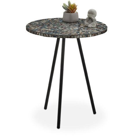 Mesa Auxiliar Mosaico, Hecha a Mano, Hierro-DM-Cristal, Negro Antiguo, 50 x 41 cm