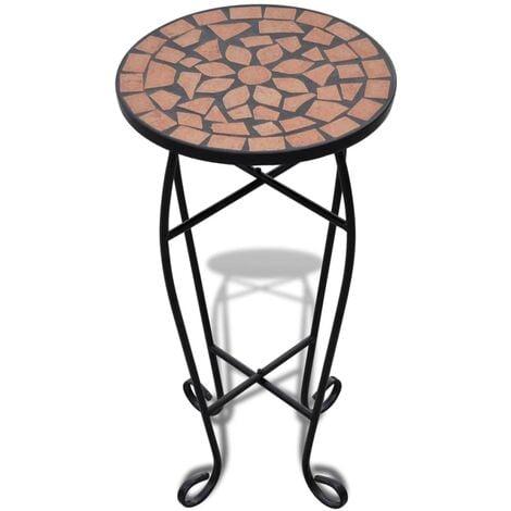 Mesa auxiliar mosaico para plantas terracota