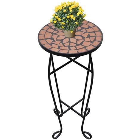 Mesa auxiliar mosaico para plantas terracota - Naranja