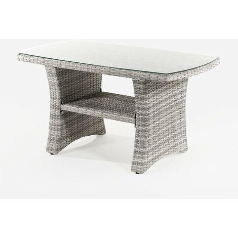 Mesa auxiliar para jardín con cristal | de aluminio y ratán sintético en color gris - Portes gratis - Gris-plano