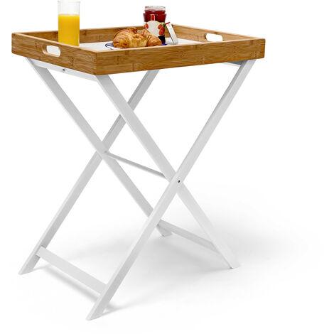 - Mesa auxiliar plegable, bambú, 72 x 60 x 40 cm, desayuno almuerzo cena,marrón y blanco