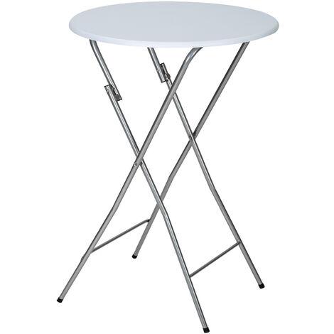 Mesa auxiliar plegable de acero - mueble auxiliar abatible, mesa alta con estructura de acero para eventos, mesa de exterior para catering - blanco