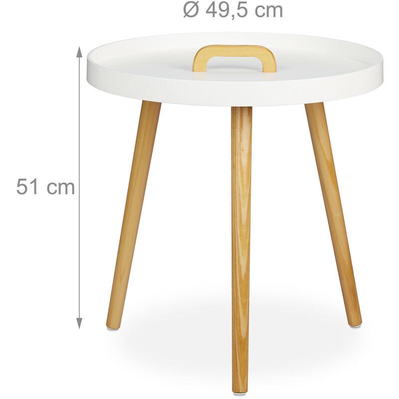 mesa auxiliar redonda con asa