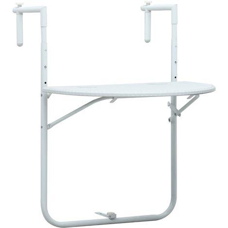 Mesa balcon colgante plastico aspecto ratan blanco 60x64x83,5cm