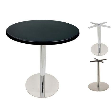Mesa bar acero inoxidable, tapa 70 cms. , Tablero Werzalit con decorado: Wengué 103