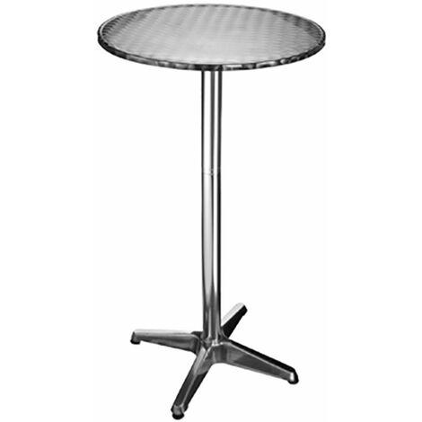 Mesa bistró de altura regulable, mesa plegable Mesa redonda ALU, patas ajustables, ALU plateado, F x H 60 x 115 cm, jardín
