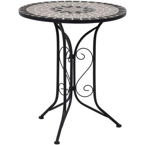 Mesa bistro de mosaico ceramica gris 61 cm