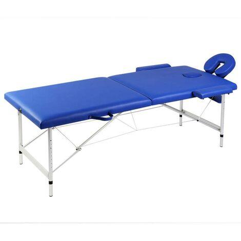 Mesa camilla de masaje de aluminio plegable de dos cuerpos azúles