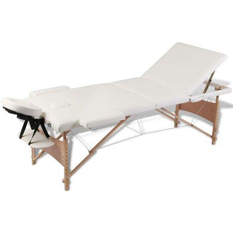 Mesa camilla de masaje de madera plegable de 3 cuerpos, blanco crema