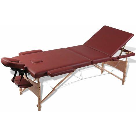 Mesa camilla de masaje de madera plegable de tres cuerpos rojos HAXD00113