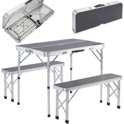 Mesa Camping de jardín eventos de aluminio & 2 bancos plegables con función de maleta para mejor transporte blanco/gris