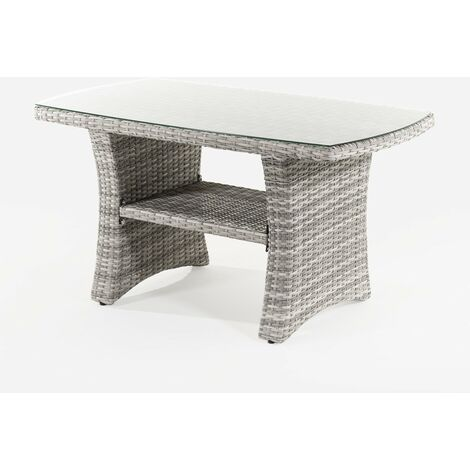 Mesa centro de jardín | Aluminio y rattán sintético |