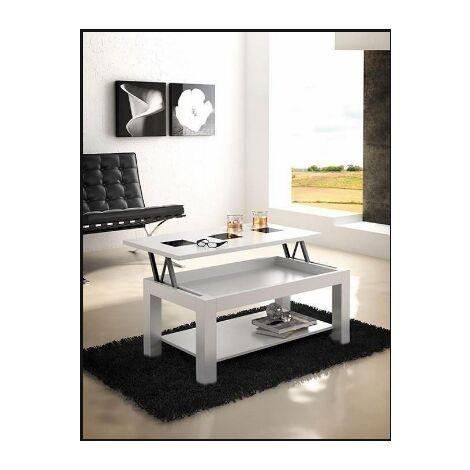 Mesa centro elevable en acabado blanco 50 cm(alto)101 cm(ancho)55 cm(largo) Color Blanco