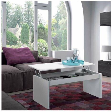 Mesa centro elevable en acabado blanco brillo 43 cm(alto)102 cm(ancho)50 cm(largo) Color Blanco brillo