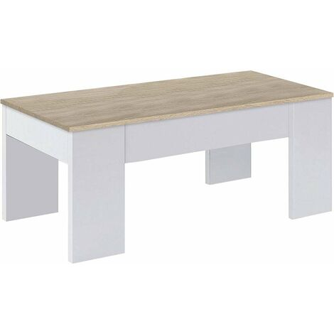 Mesa centro elevable en blanco artik y roble canadian 45 cm(alto)100 cm(ancho)50 cm(largo) Color roble canadian/blanco artik