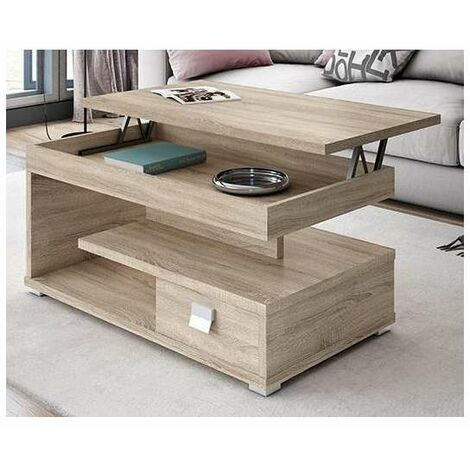 Mesa centro elevable en blanco/negro 50 cm(alto)101 cm(ancho)55 cm(largo) Color Blanco