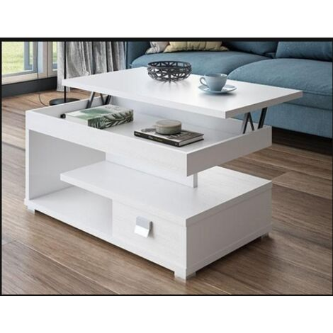 Mesa centro elevable varios colores a elegir 51 cm(alto)111 cm(ancho)56 cm(largo) Color Blanco/Pozzolana