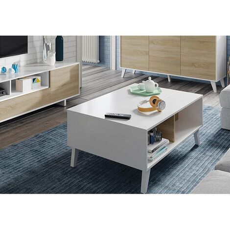 Mesa centro elevable Zaiken en blanco y roble canadian 38 cm(alto)100 cm(ancho)68 cm(largo) Color Roble canadian/Blanco