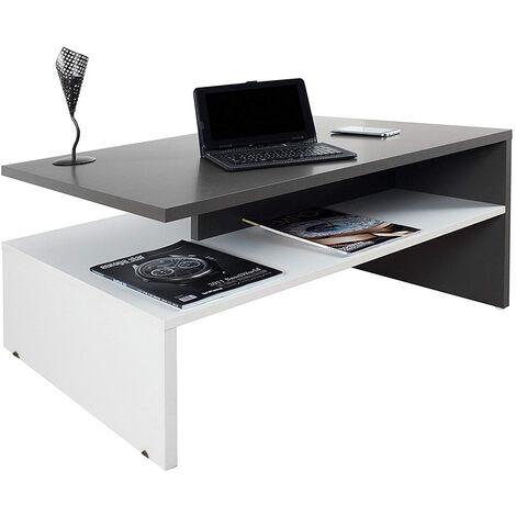 Mesa Centro Moderna Mesa de Café--- para Salón Mesa Baja Mezcla Negro y Blanco 90*42*60cm