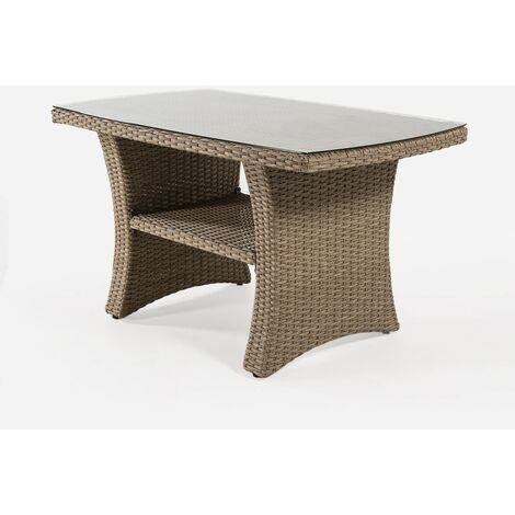 Mesa centro para exterior | Aluminio y rattán sintético | Color natural | Tamaño: 70x120x67 cm | Portes gratis - Natural-plano
