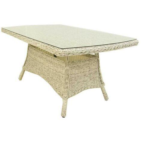 Mesa centro para exterior | Aluminio y rattán sintético redondo | Color blanco envejecido | Tamaño: 140x85x67 cm | Portes gratis - Blanco envejecido-redondo