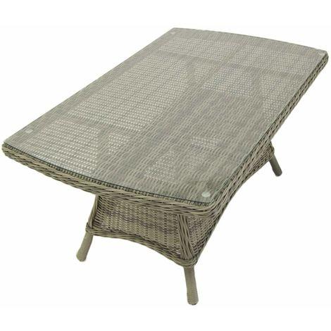 Mesa centro para exterior | Aluminio y rattán sintético redondo | Color gris | Tamaño: 140x85x67 cm | Portes gratis - Gris-redondo