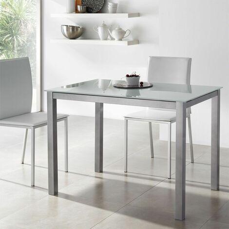 Mesa cocina cristal blanco Soria fija