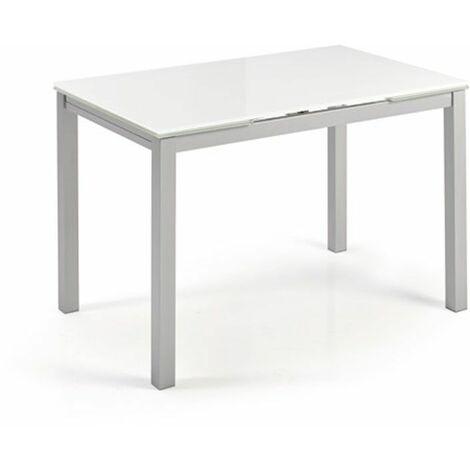 Mesa cocina cristal extensible Katy | Dimensiones : 110 x 70 cm. - Color: Cristal blanco optico - Cristal blanco optico