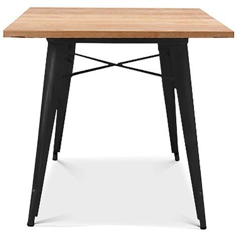 Mesa cocina o comedor acero negra, madera 80x80 cms