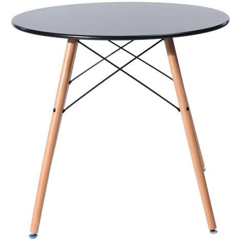 Mesa cocina o comedor base madera, tapa negra, 80 cms de diámetro