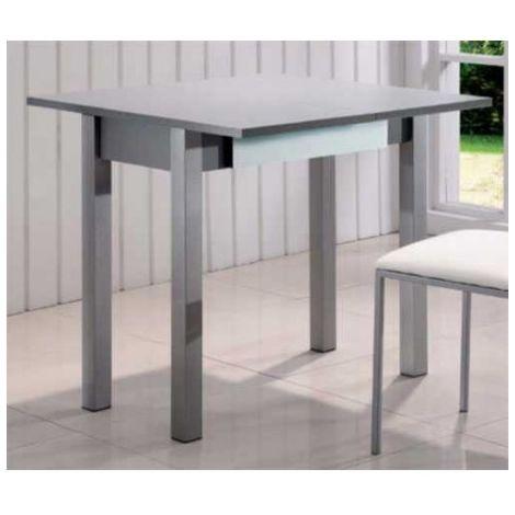 Mesa cocina plegable cristal con cajon blanco Color Blanco