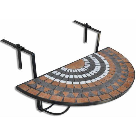 Mesa Colgante Mosaico Semicircular Terracota Y Blanco