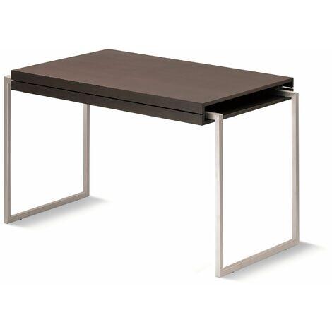 Mesa comedor/café estructura cromado mate y tablero roble color wengué