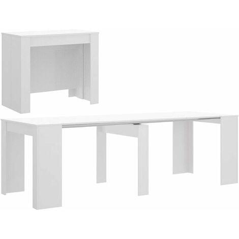 Mesa Comedor Consola extensible, de 54 cm a los 239 cm de Largo ( 5 POSICIONES ) Blanco Brillo