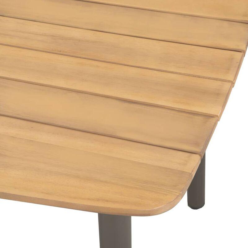 Mesa comedor jardín madera maciza de acacia y acero 80x80x72cm -