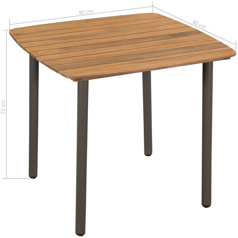 Mesa comedor jardín madera maciza de acacia y acero 80x80x72cm