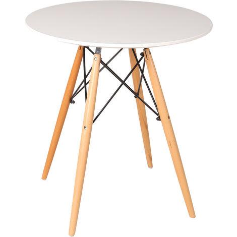 Mesa comedor lacada color blanco y patas madera haya natural