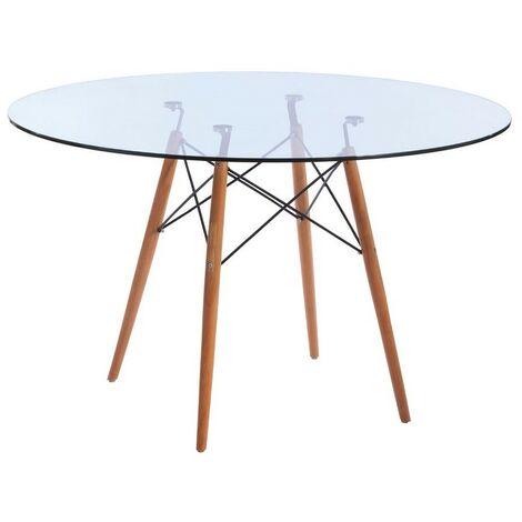 Mesa Comedor, madera, cristal, 120 cms de