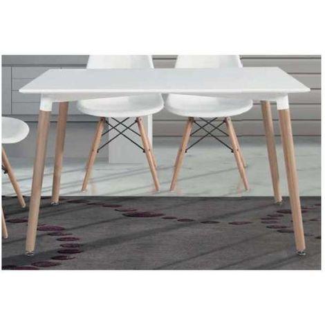 Mesa comedor moderna en acabado blanco patas haya 74 cm(alto)120 cm(ancho)80 cm(largo) Color Blanco