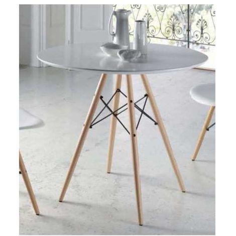 Mesa comedor moderna redonda en acabado blanca patas haya 77 cm(alto)80 cm(ancho)80 cm(largo) Color Blanco