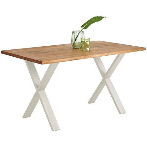 Mesa Comedor Oficina Moderna Madera maciza 140x80 cm. Patas acero forma X Blancas